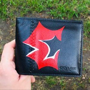 Coach Baseball Stitched Black Custom Wallet